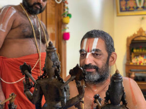 HH Chinna Jeeyar Swamiji With The Idols Made by Artisans
